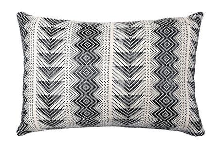 Decorative cushion with geometric pattern. Isolated on white background.