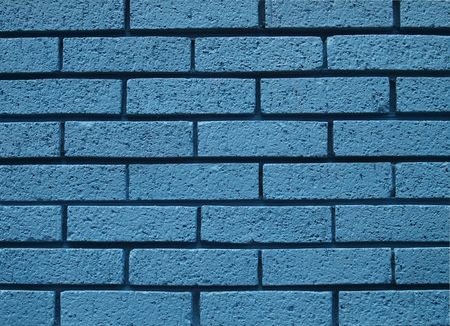 blue brick wall, abstract close up view, textured background         Stock Photo