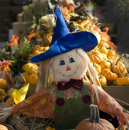 Happy smiling Scarecrow and Pumpkins at the local market