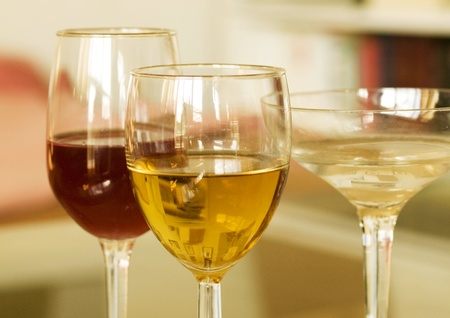 Red Wine and White Wine Alcohol,  Object, Color Image Stock Photo