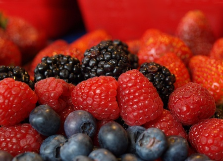 Colorful fresh berries, blueberry, blackberry, raspberry, strawberry