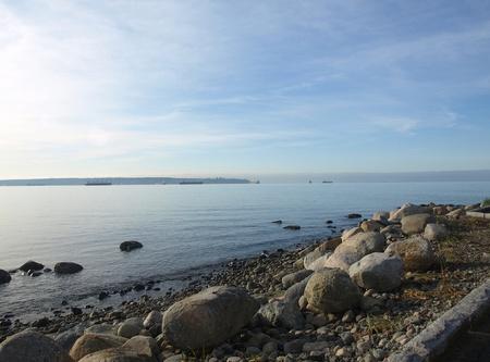 North pacific shore, beach, stones sky scenery