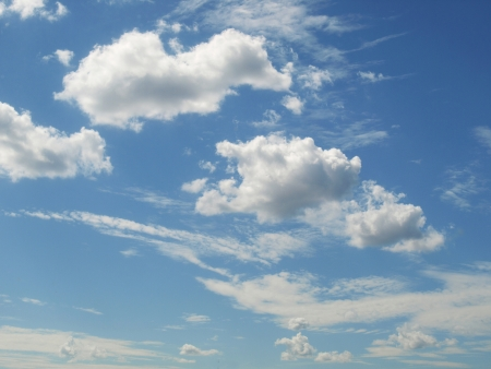 Background, blue summer sky with white clouds