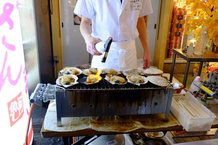 night market: Grilled shellfish at night market