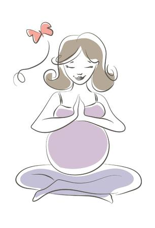 pregnancy yoga: Pregnant Yoga Illustration