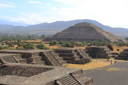 View of the Pyramid of the Sun and the Avenue of Deaht Teotihuacan Mexico City