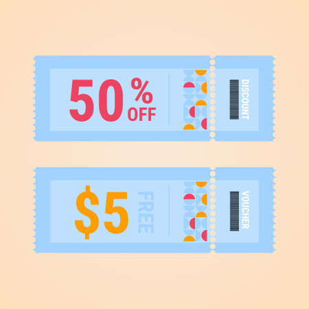 Set of coupon promotion sale for website, internet ads, social media. Gift Voucher template, coupon design