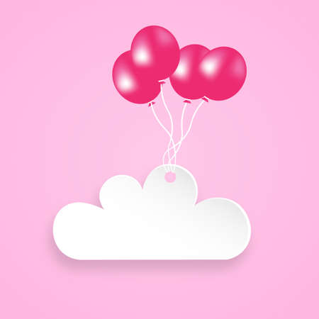 Cloud held with colorful balloons. Cloud lifted by balloons
