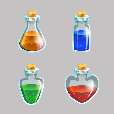 Potion in vials collection in isolated background