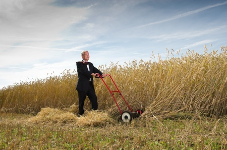 Businessman harvesting the fruits of his labor Stock Photo