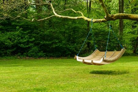 Banc d'oscillation incurvé suspendu à la branche d'un arbre dans un jardin luxuriant avec toile de fond boisée pour se détendre pendant les chaudes journées d'été