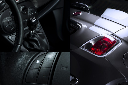 car detail: Car Interior and Exterior Collage showing shift know steering wheel and tail light. Stock Photo