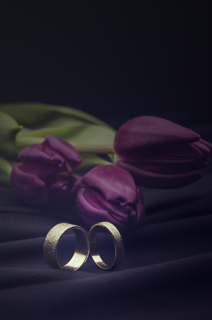 displayed: Romantic white gold wedding rings displayed on a soft luxurious soft black cloth with a floral bouquet of fresh purple spring tulips with copyspace above