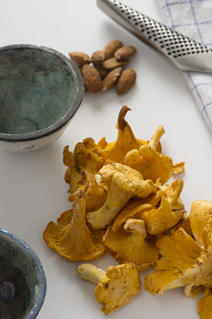 Pile of fresh autumn chanterelle mushrooms on a kitchen table ready to be used as an ingredient in healthy vegetarian cuisine or cooking a savory meal viewed close up high angle Stock Photo