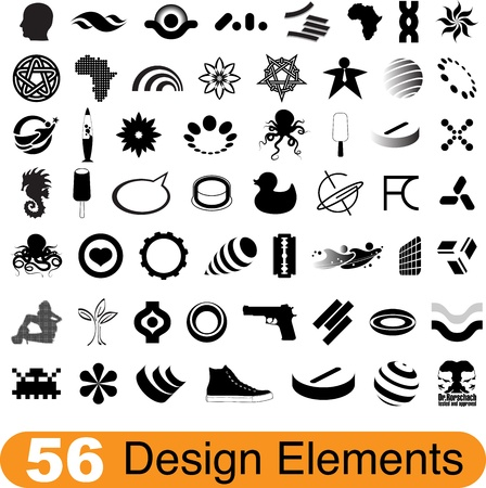dingbats: Set of 56 various design elements for print and web Illustration