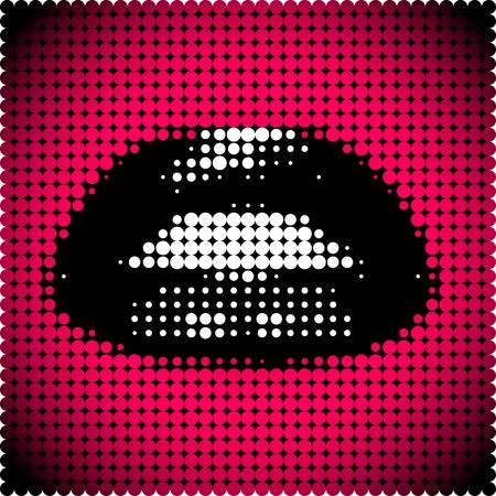 Pixelated black female lips on red background vector illustration Illustration
