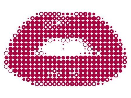 Pixelated female lips isolated on white vector illustration