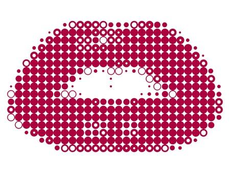 Vrouwelijke lippen korrelig geïsoleerd op witte vectorillustratie