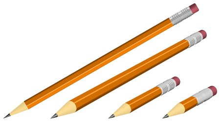 orange pencils isolated on white, realistic looking vector illustration Vector