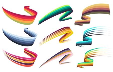 Set of colorful futuristic ribbon design elements