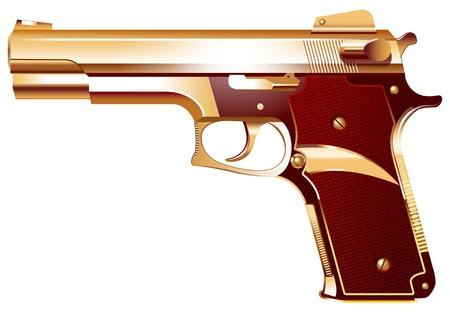 pistola: Ilustraci�n vectorial de un arma de oro