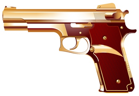firearms: Vector illustration of a weapon made of gold Illustration