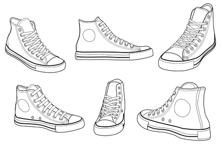 sport wear: Sneakers at various angles outline vector illustration Illustration