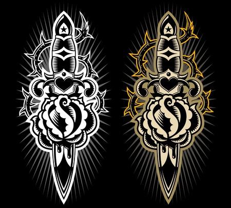 venganza: Dise�o de estilo tatto, daga apu�alar a una rosa Vectores