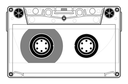compact: Precise copy of a tape cassette in vector Illustration