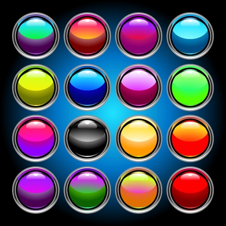 silvery: set of 16 colorful glass buttons for applications and web