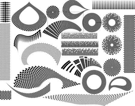 Set of 24 techno design elements and textures Illustration
