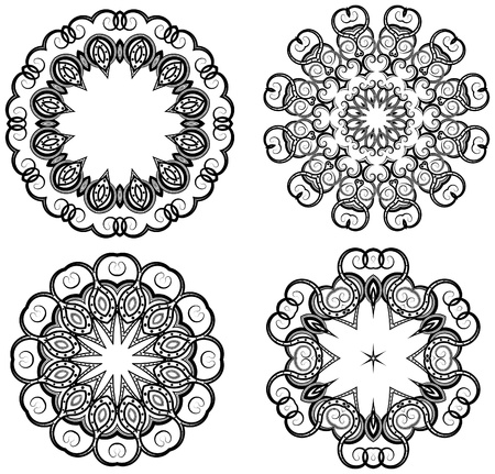 black and white line drawing: Oriental style ornaments isolated on white