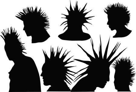 70s-80s punk rock hairstyle, urban culture Stock Vector - 9134846
