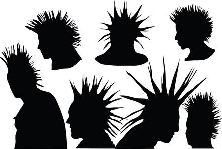 punk: coiffure de punk rock de 70-80, culture urbaine