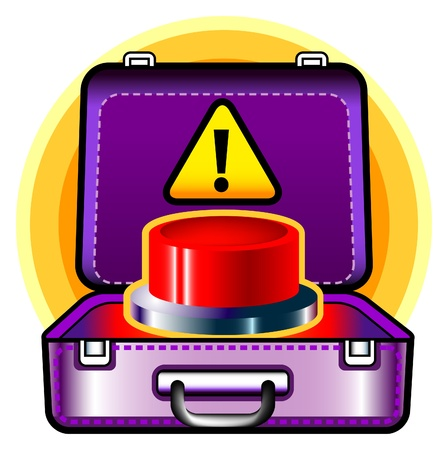 red button in a suitcase illustration Stock Vector - 9134864