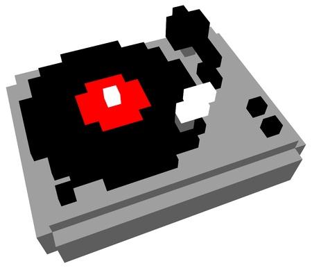 grooves: 3D pixel cartoon style turntable Illustration