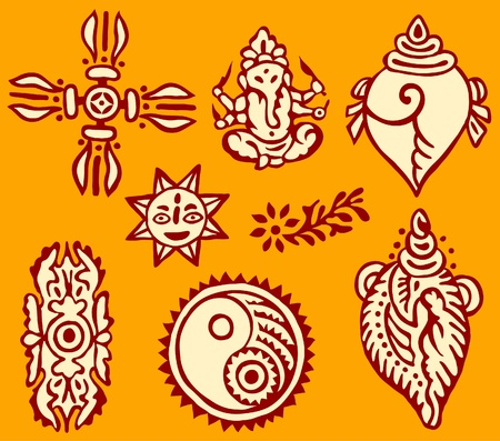 indian mythology, fabric ornaments Vector