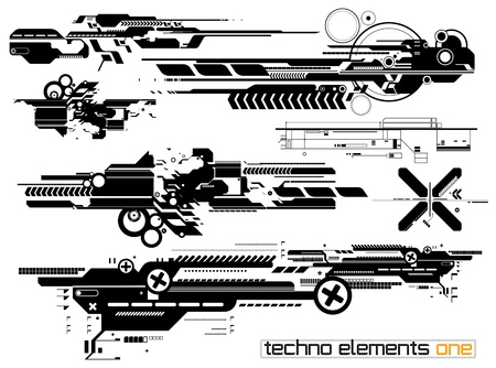Set of techno compositions for print multimedia and web Illustration