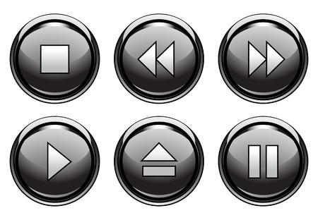 pausa: Conjunto de seis botones de estilo aqua para web y aplicaciones Vectores