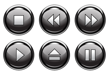play icon: Set of 6 aqua style buttons for web and applications
