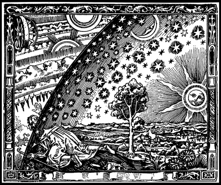 universo: Vector copy of a medieval engraving representing reaching out the edge of the world