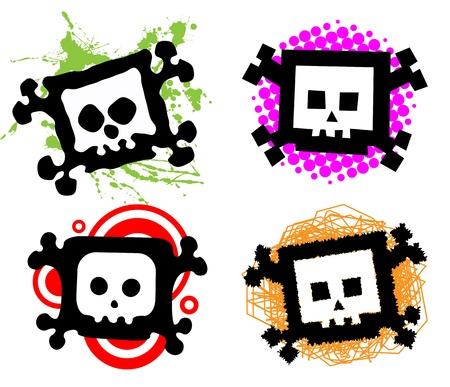 Set of colorful cartoon skulls Vector
