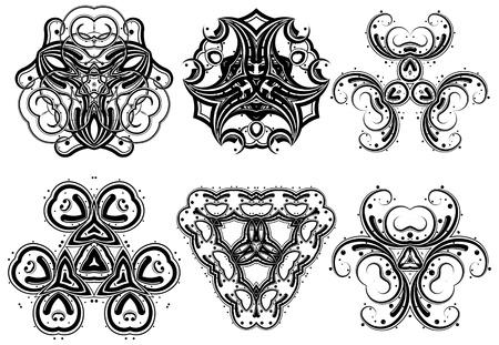 Set of fantasy style design elements Vector