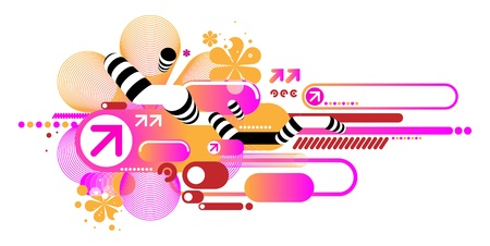Pink techno composition of various elements Vector