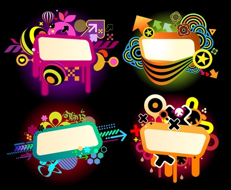 doted: graffiti style colorful banner templates Illustration
