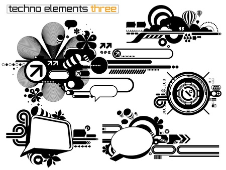 Set of techno compositions for print multimedia and web Stock Vector - 9458355