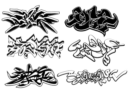 hiphop: Set of 6 graffiti sketches isolated on white