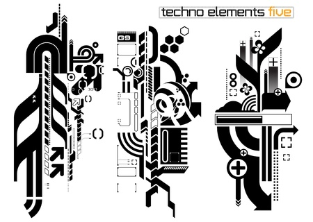 optical illusion: Set of techno compositions for print multimedia and web Illustration