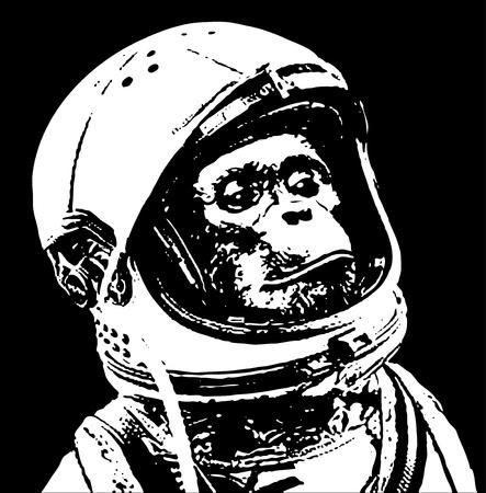 chimpansee in de ruimte stencil art Vector Illustratie