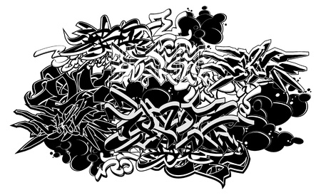 Graffiti style abstract graphic composition. Vector